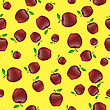 Red Apples With Green Leaves Seamless Pattern On Yellow Background