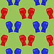 Red Blue Boxing Gloves Seamless Pattern Isolated On Green Background