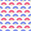 Red Blue Fan Seamless Pattern On White