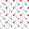Red Blue Guitar Silhouettes Seamless Pattern On White Background