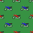 Red Blue Sport Bike Seamless Pattern On Green Background
