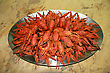 Crayfish Red Boiled Crawfishes On The Table In Oval Dish stock image
