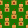 Red Brick Castle Seamless Pattern On Green. Retro Tower Background