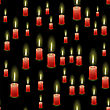 Red Burning Wax Candles Seamless Pattern Isolated On Black Background