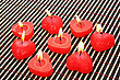 Red Candles On Wooden Math. stock photography