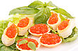 Premium Red Caviar In Pastries And Lettuce On Plate stock photography