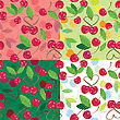 Red Cherries With Green Leaves On Green, Pink, White Backgrounds. A Seamless Background