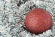 Red Christmas Tree Ball On Silver Decorations stock image