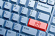 Desktop Red Computer Keyboard Button With House Icon stock image