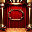 Red Curtains, Gold Columns And Frames Made In 3d