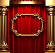 Red Curtains, Gold Columns And Frames Made In 3d stock illustration