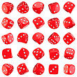 Red Dice Icons Isolated