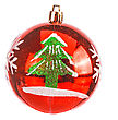 Red Dull Christmas Ball On White Background stock photo