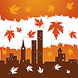Red Falling Maple Leaves On City Building Silhouettes stock vector