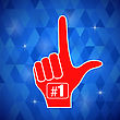 Red Foam Finger Isolated On Blue Polygonal Background