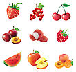 Red Fruits And Berries, Set Of Isolated, Detailed Vector Illustrations And Icons stock illustration