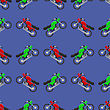Red Green Sport Bike Seamless Pattern On Blue Background stock vector