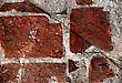 Destruction Red Grunge Brickwall Is Dangerous stock photo