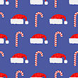 Red Hat And Candy Cane Seamless Pattern. Winter Background