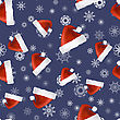 Red Hat And Snowflakes Seamless Pattern. Winter Background