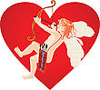 Red Heart And Cupid