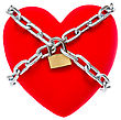 Red Heart Locked On Padlock. Isolated Over A White Background stock image