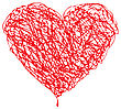 Red Heart Scribble With Lines Texture On White Background. Element For Your Valentine`s Day Design
