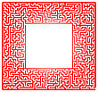 Red Labyrinth Isolated On White Background. Kids Maze