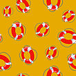 Red Lifebuoy Random Seamless Pattern On Orange Background