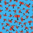 Red Metallic Extinguisher Seamless Pattern On Blue Background