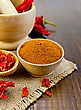 Red Pepper Powder In A Wooden Bowl, Flake And Pods Of Red Pepper In A Mortar And A Wooden Spoon On A Background Of Burlap And Wooden Board stock photo