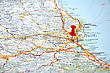Italy Red Point On The Italy Map stock photo