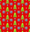 Red Seamless Christmas Pattern Green Fir And Showflake - Vector