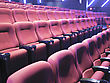 Red Seats Of Cinema Hall After The Movie stock photography