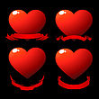 Red Shiny Hearts With Scrolls Over Black
