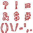 Red Symbols And Punctuation Signs