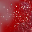 Red Technology Background With Particle, Molecule Structure. Genetic And Chemical Compounds. Communication Concept. Space And Constellations