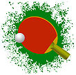 Red Tennis Racket And Plastic Ball On Green Splatter Background