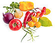 Red And Three Yellow Tomatoes, Two Red Pepper, One Yellow Bell Peppers, Maroon And Yellow Onions, Brush Wild Apples With Leaves, A Sprig Of Parsley And Tarragon Is Isolated