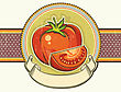 Red Tomatos.Vintage Label On Old Paper Background Texture