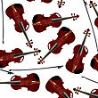 Red Violins And Bow, Seamless Musical Background