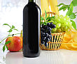 Red Wine Bottle And Fruits stock photo