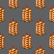 Red Yellow Wax Candles Seamless Pattern Isolated On Grey Background. Burning Candles Set