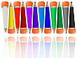Reflected Pencils Collection With Rubbers Against White Background,  Image Contains Opacity Mask
