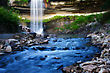 Relaxing Waterfall And Creek Taken With A Long Exposure stock photography