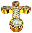 Religion: Golden Cross With Diamonds Isolated Over White (wide Angle With Artistic Shallow DOF