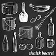 Restaurant And Kitchen Related Symbols On Tiled Background On Chalk Tiled Wall