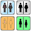 Restroom Sign With Man And Woman Isolated On White Background