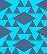 Retro 3D Blue Stripes With Triangles Crossed.Abstract Layered Pattern. Bright Colored Background With Realistic Shadow And Thee Dimensional Effect