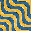 Retro 3D Blue And Yellow Waves With Overplayed Triangles .Abstract Layered Pattern. Bright Colored Background With Realistic Shadow And Thee Dimentional Effect